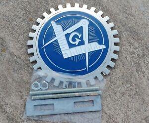 "Masonic CAR GRILL  Freemason 3D CHROME  EMBLEM badge ~ color navy blue. ~4"""