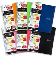 """Five Star Spiral Notebook 3 Subject Wide Ruled Paper 150 Sheets 10.5"""" Blue"""