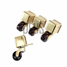 4x SOLID POLISHED BRASS BOX CASTORS WITH BROWN CERAMIC WHEEL - BRAND NEW  BC29BB