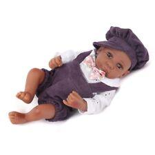 "10"" Reborn African American Dolls Handmade Full Vinyl Silicone Newborn Boy Baby"