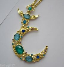 Crescent Moon Heavens Angel Wings Beautiful Goldtone Jewelry Necklace #586-A