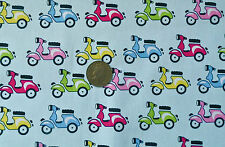 Blue With LAMBRETTAS Scooters in Various Colours Cotton Fabric F Q