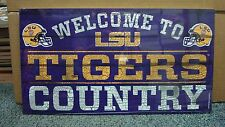 """LSU TIGERS WELCOME TO TIGERS COUNTRY WOOD SIGN 13""""X24'' NEW WINCRAFT"""