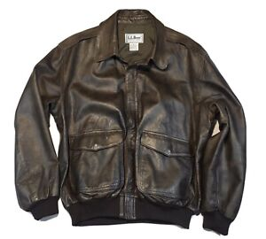 Vintage LL BEAN Leather Bomber Flight Jacket Mens A2 Flying Tigers USA Made L