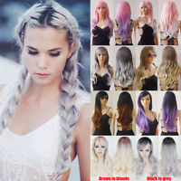 New Women Ladies Long Hair Full Wig Synthetic Daily Costume Glueless Ombre L14
