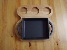 Lava Enameled Cast Iron Fajita Lasagna Frying Pan Oven Pan With Wood Plate