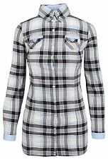 L' ARGENTINA Damen Long Bluse Women Shirt Größe 38 M Kariert Checkered Baumwolle
