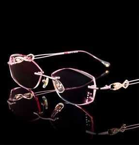 Deluxe Purple Pink Cutting Eyeglasses Women Frames Gradient Glasses Diamond