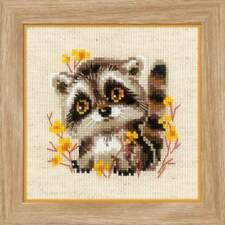 Stickpackung Stickbild sticken 13x13 cm kleiner Waschbär little Raccoon
