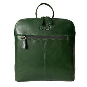Women's Rowallan Green Leather Backpack