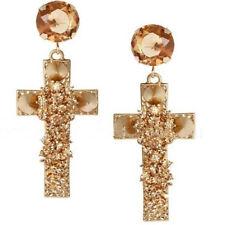 Chic Earrings Ear Stud Jewelry Sparkly Fashion Women's Rhinestone Cross Dangle