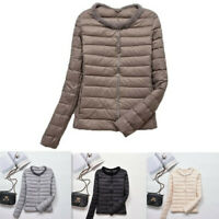 Women's Winter Slim Light Weight Down Jacket Button short Coat Mink fur collar