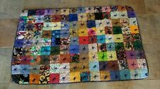 Handmade Patch Quilt Patchwork Seasons Multi Yarn Tied Cozy Cottons Throw Size