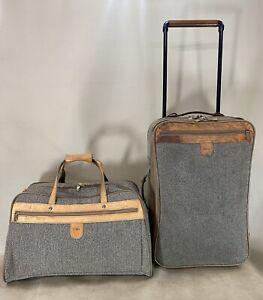 "VTG HARTMANN Tweed Belting Leather Set 22""  Rolling Suitcase & 21"" Duffle Bag"