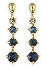 9 Carat Yellow Gold Sapphire Drop/Dangle Fine Earrings
