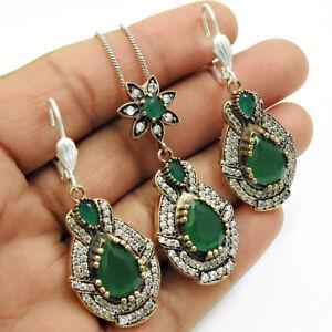 925 Sterling Silver Emerald CZ Earring Pendant Jewelry Handmade Bohemain Set RS6