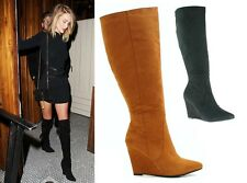 WOMENS LADIES FAUX SUEDE WEDGE HIGH HEEL POINTED TOE ZIPUP KNEE BOOTS SHOES SIZE