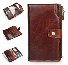 Women's Large Capacity Genuine Leather Wallet Fashion Men's Zipper Phone Purse