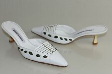 NEW MANOLO BLAHNIK WHITE Green NIKAN SLIDE Mules KITTEN HEELS SHOES 37.5