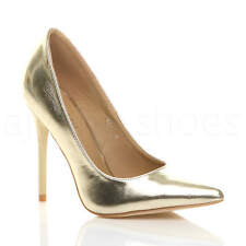 Womens Ladies High Heel Pointed Contrast Court Smart Party Work Shoes PUMPS Size UK 6 / EU 39 / US 8 Gold Metallic
