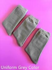 3 Pairs Unisex Women Mens Casual Crew Dress Cotton Uniform Grey Socks Size 6-11