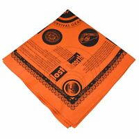 Ultimate Survival Technologies Survival Bandana Orange Kerchief w/Survival Tips
