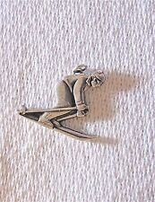 Estate 50s-80s Ster CHARM: 2D downhill SKIER crouched Old-fashioned SKI CLOTHING