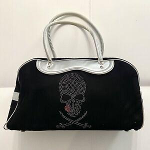 Weekend Bag In Black Velvet With Strass Skull