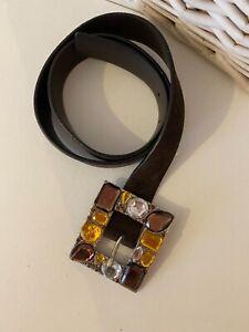 Jaeger Ladies Statement Belt, Jewelled Buckle, Brown, Leather, Designer, Medium
