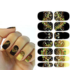 DIY Black Flower Nail Art Sticker Water Transfer Cute for Nails Decal Manicure