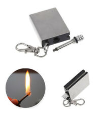 2 x Permanent Metal Match Box Lighter Cigarette Camping Keyring With Stickers