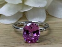 3.00 CT Oval Cut Solitaire Pink Sapphire Engagement Ring Solid 14K White Gold GP