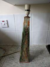 Large Heavy vintage hand made verde OBELISK FORGIATO CERAMICA Lampada da tavolo base