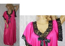 VTG PINK SATIN Black Lace Nightgown Negligee PLUS SIZE 2X 3X NWT