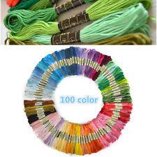 100x Embroidery Mix Colors Cross Stitch Cotton Sewing Skeins Thread Floss Kit