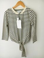 NWT DEFECT Current/Elliott The Birkin Top Striped Cream Navy Knotted 0 XS $168