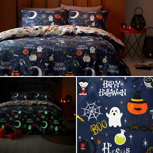 Happy Halloween Glow in the Dark Cats Bats Monsters Reversible Duvet Cover Set