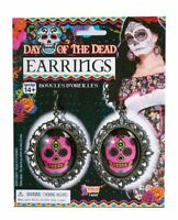 Day of the Dead Pink Skull Earrings Halloween Costume Accessories