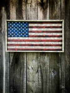 Rustic wood 3ft American flag wall art