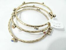 Ann Taylor Loft Antique Brass Metallic Blue Stone Bangle Set Bracelet 24.50