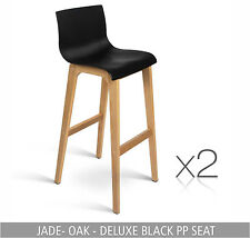 2 Kitchen Leather Chair Stool Dining Set Black White Timber Bar Oak Barstool