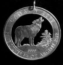 Münzanhänger Silber grauer Wolf