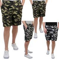 Homme Pantalon Court Imprimé Camouflage Cargo Multi Poches Style Militaire