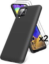 COQUE GALAXY A12 SAMSUNG + 2X VITRE VERRE TREMPE housse silicone noir