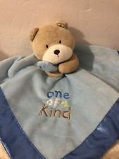 Carters One of a Kind Security Blanket Baby Lovey Blue Tan Teddy Bear Rattle