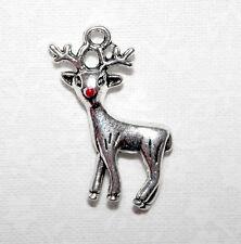 Cute silver tone Rudolph Renne Noël charmes avec émail rouge nez x4