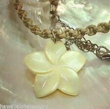 30.5mm Hawaiian Yellow Carved Mother of Pearl Shell Plumeria Flower Pendant Adj