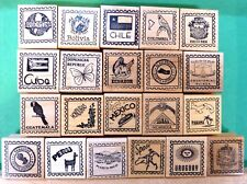 Country/Passport 21-Pc Assortment, Spanish-Speaking Countries - Wood Mounted