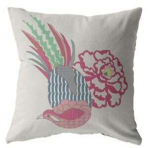 Hiding Peacock Double Sided Suede Pillow, Zippered, Pink on White