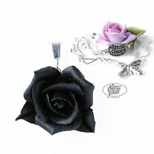 BLACK ROSE NECKLACE STG SILVER CHAIN GOTHIC FLOWER FLORAL ORNAMENT 1
